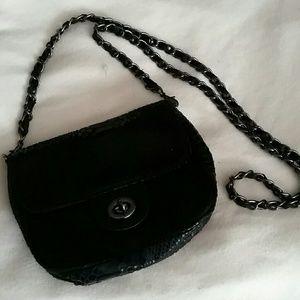 Small snakeskin black purse